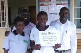 Health workers in Uganda thank Jack Hughes for helping people to survive TB